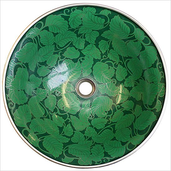 This Cloisonné Green Leaves Vessel Sink Would Make A Great Statement Piece  For A Glamorous Powder