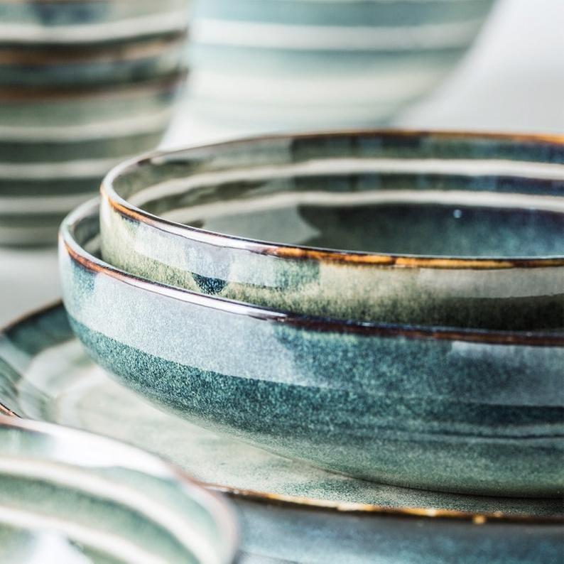 Keramikgeschirr drei weiße Streifen Schale japanischen