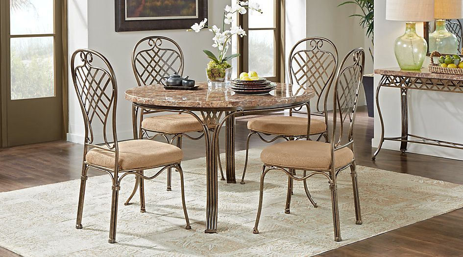 Alegra Metal 5 Pc Round Dining Set With Stone Top Home Decor