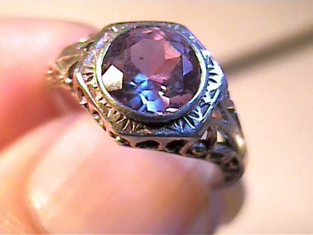 ring silver russian alexandrite solitaire engagement filigree color