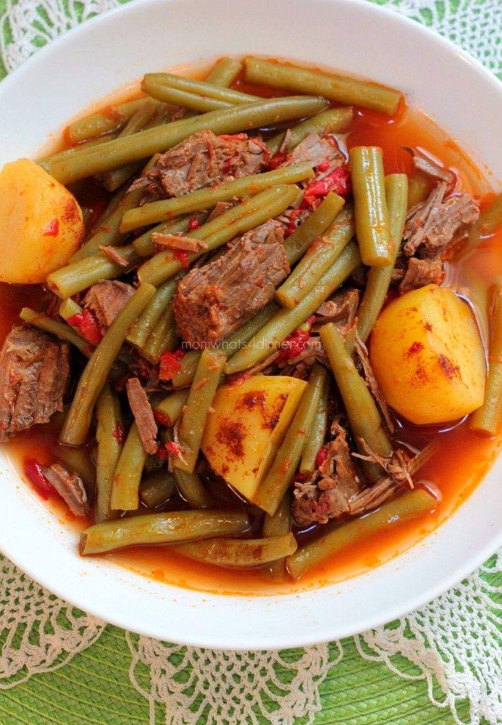 Judías verdes con carne asada