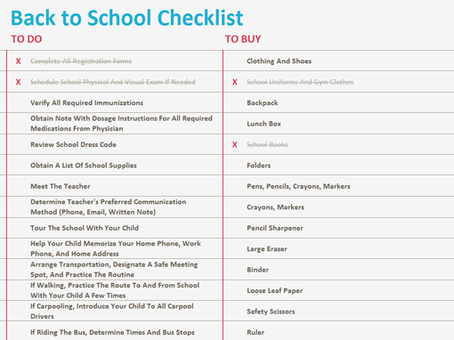Back To School Checklist  Organization Of Work And Life