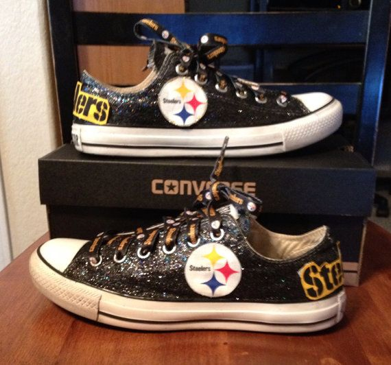 Women's Steelers Converse Black GLITTER LOGO DIFFERENCE