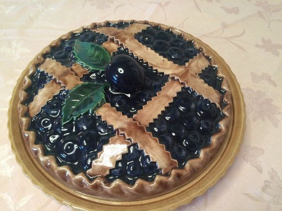 Ceramic Blueberry Pie Plate Pie Dome In Vintage Kitchen Decor Retro Kitchen Cooking Blueberry Pie Designs Covered Pie Dish Serving Pie Plate