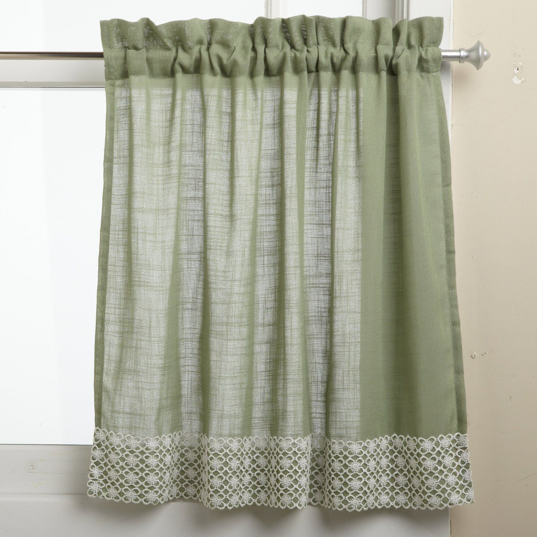 Green Half Window Curtains