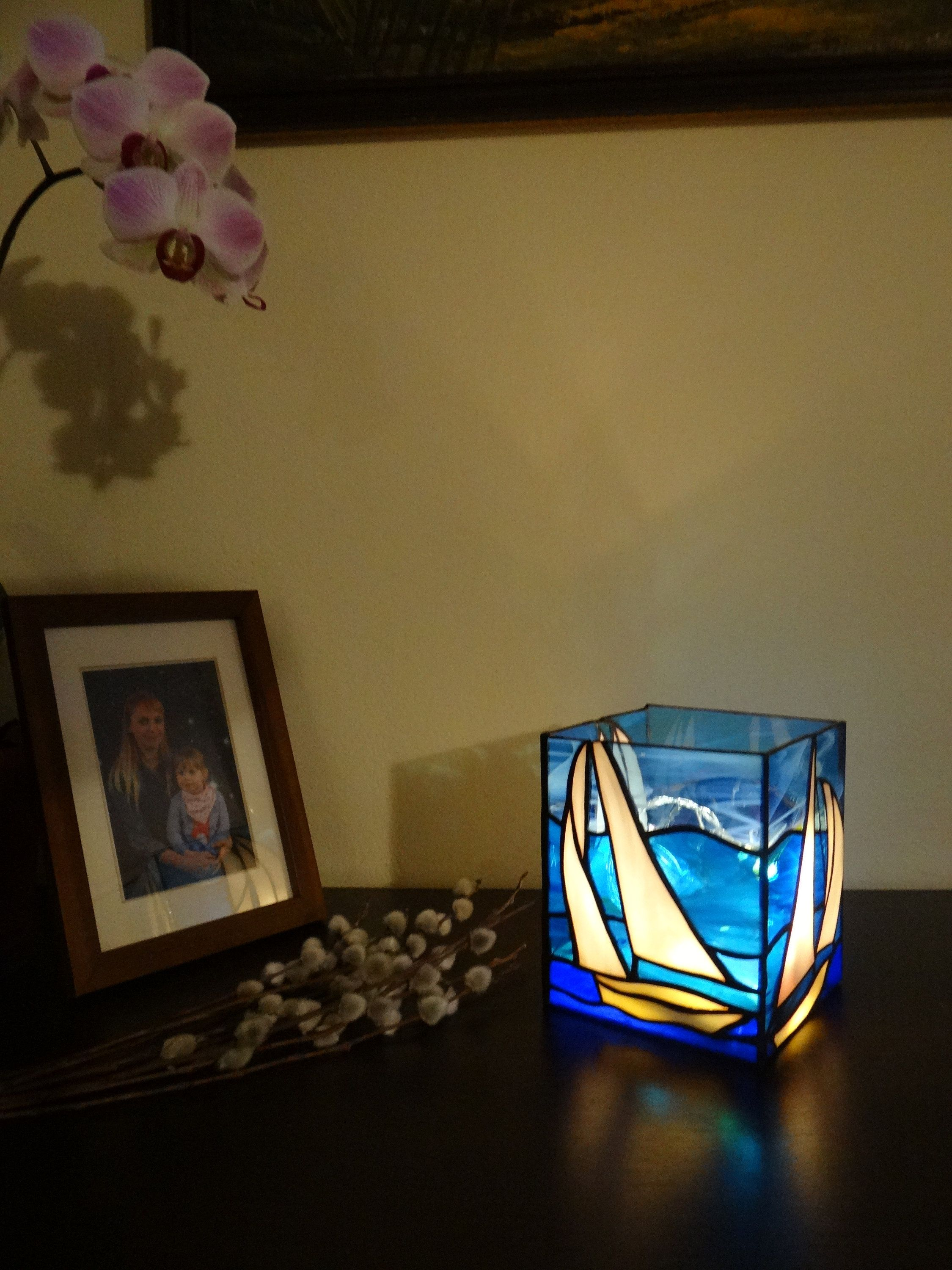 Sailboat Stained Glass Boat Candle Holder Light Box Lantern Handmade Tealight Nightlight Nautical Decor Illumination Led Bedside Lamp Glass Boat Stained Glass Candle Holders Glass Candle Holders