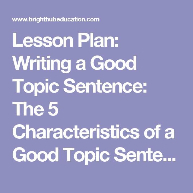 good topic sentences