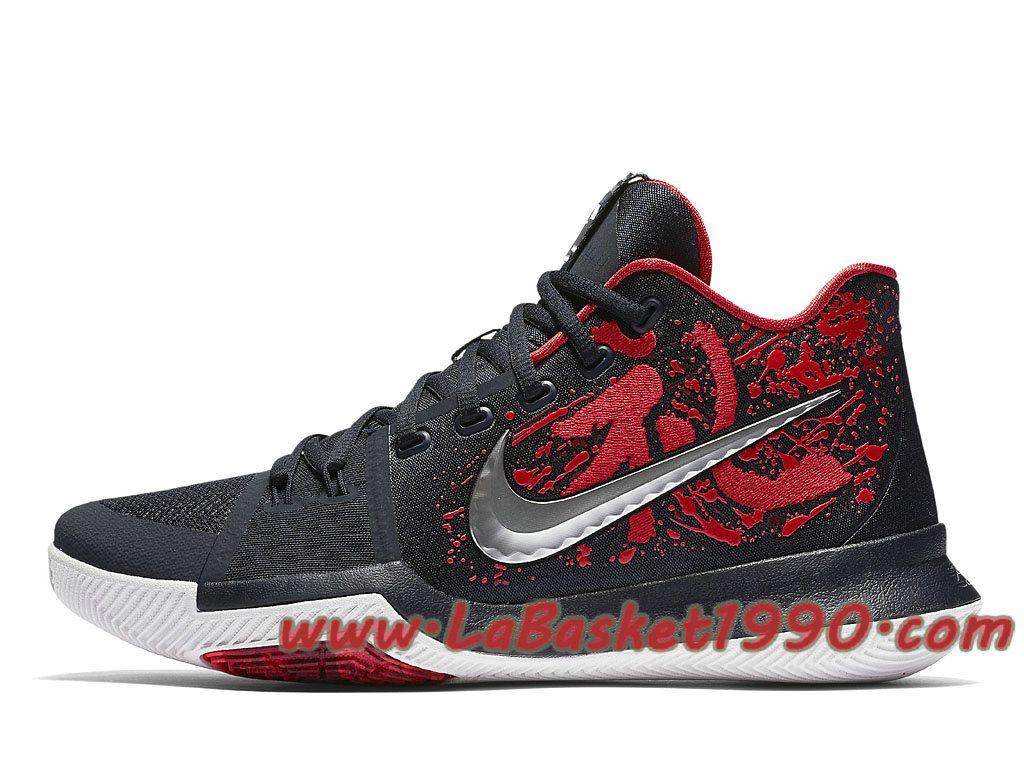 the best attitude 2818b c56ea Nike Kyrie 3 Samurai 852395-900 Chaussures Nike Basket Pas Cher Pour Homme  Noir Rouge