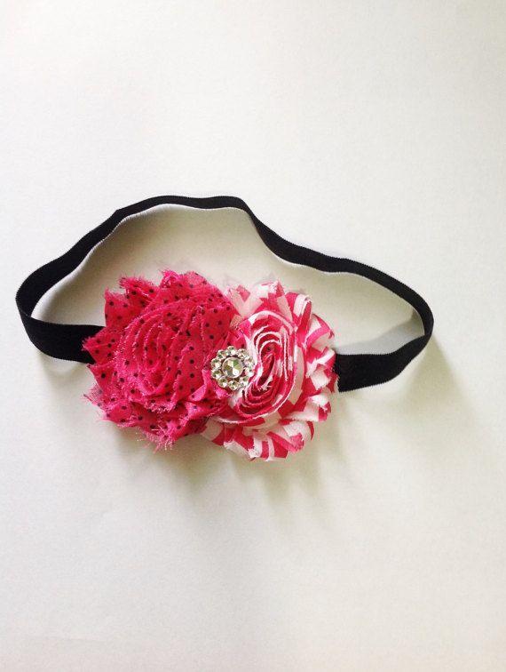 hot pink chevron baby girl headband, pink and black polka dot, black headband, chic headband, rosette flower, hairpiece, newborn photo prop