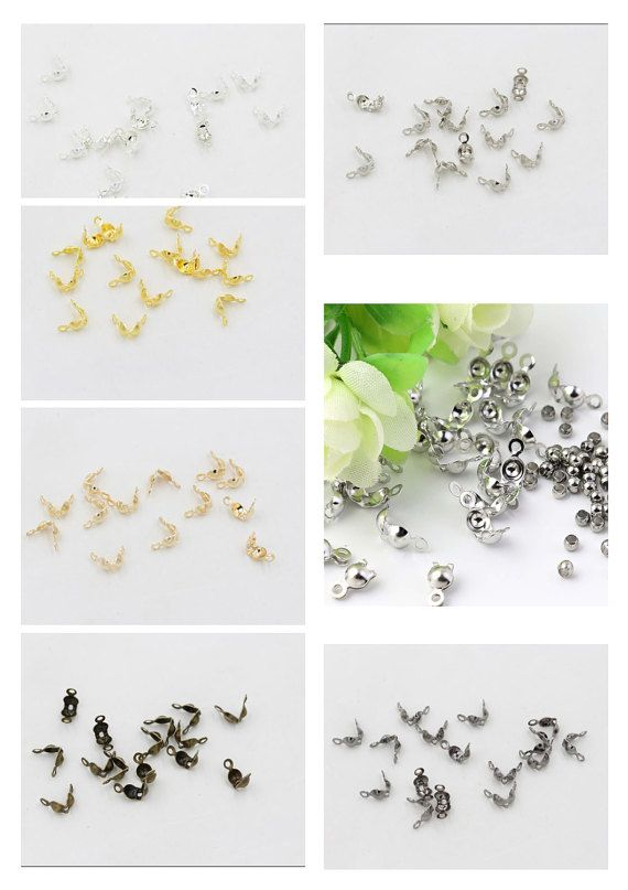 100 Crimp Bead Cover Jewelry Findings Hide Knots /& End Beads Plated Brass Metal