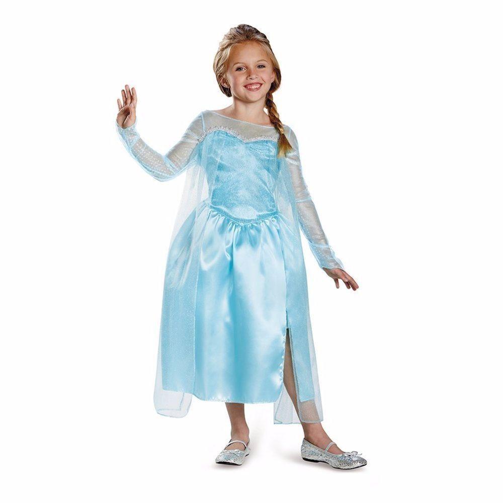 disney frozen elsa halloween costume size m 7-8 blue silver shimmery
