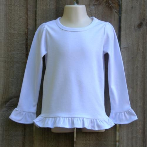 Girls Embroidery Blank Long Sleeved Ruffle Tee Blanks Pinterest