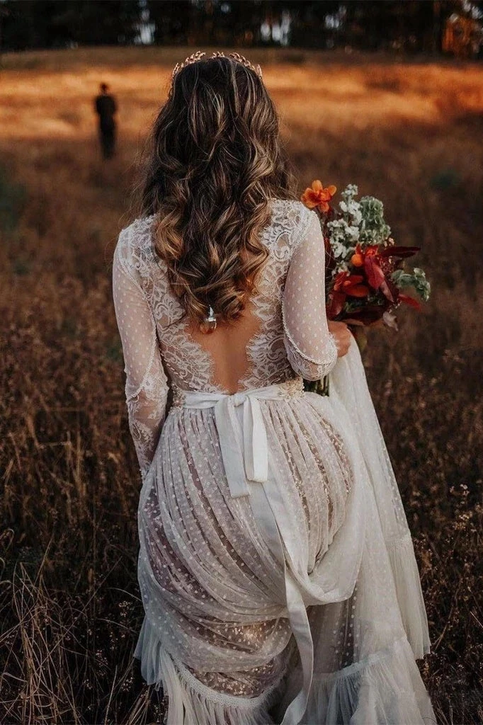 Photo of Unique Long Sleeve Boho Wedding Dresses Lace Bohemian Backless Wedding Gowns N20…