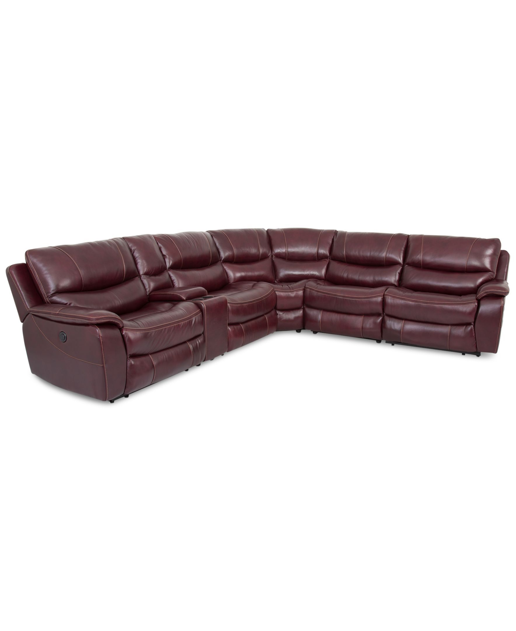 Daren Leather 6 pc Sectional Sofa with 2 Power Recliner Created