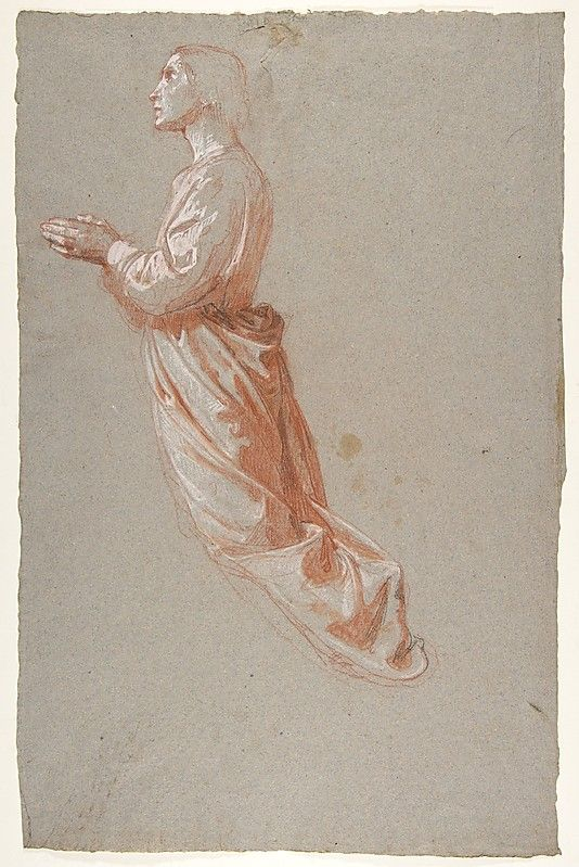 Angel (upper register; study for wall paintings in the Chapel of Saint Remi, Sainte-Clotilde, Paris, 1858) Isidore Pils (French, Paris 1813/15–1875 Douarnenez) Date: 19th century Medium: Red chalk, stumped, heightened with white chalk and gouache, with traces of black chalk, on gray paper. Scattered stains. 47.4 x 30.9 cm)