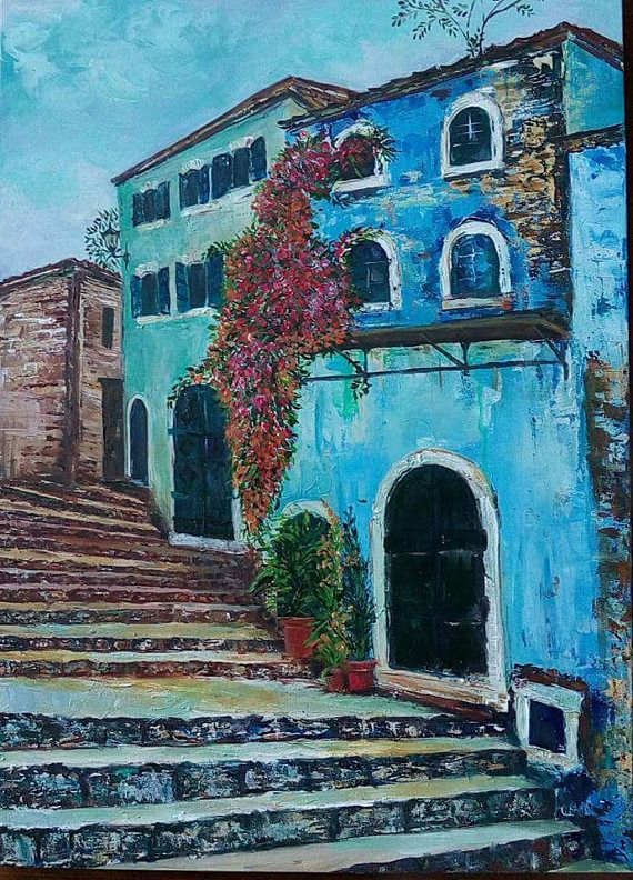greek village living room decor original painting modern on best wall color for artwork id=43258