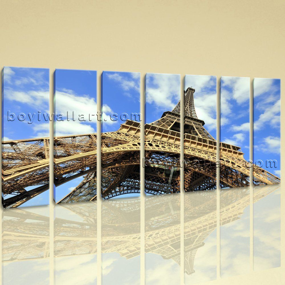 """Extra Large Eiffel Tower Cityscape Contemporary On Canvas Giclee Print Wall Art, Extra Large Landmarks Wall Art, Living Room,. Extra Large Eiffel Tower Cityscape Contemporary On Canvas Giclee Print Wall Art Subject : Landmarks Style : contemporary Panels : 7 Detail Size : 10""""x36""""x7 Overall Size : 76""""x36"""" = 193cm x 91cm Medium : Giclee Print On Canvas Condition : Brand New Frames : Gallery wrapped [FEATURES] Lightweight and easy to hang. High revolution giclee artwork/photograph. Edges are..."""