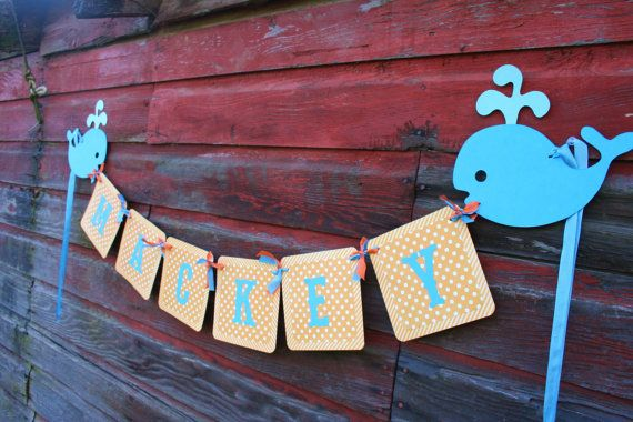 Ships Ahoy Whale birthday party banner in by LittlePinkTractor, $28.95