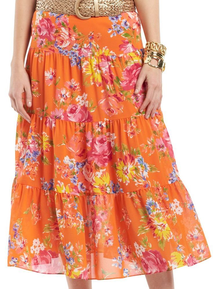 88aa254237a Chaps Floral Maxi Skirt