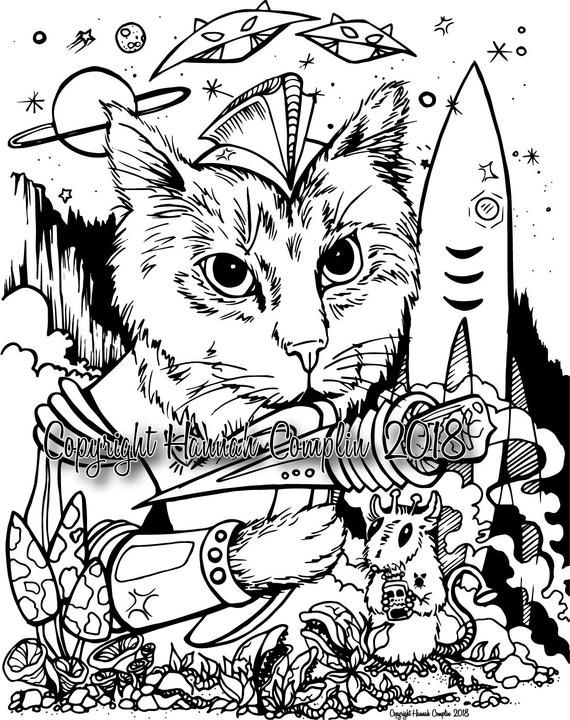 Space Cat Coloring Page By Hannah Complin Pdf Download 1 Etsy Cat Coloring Page Coloring Pages Coloring Pictures