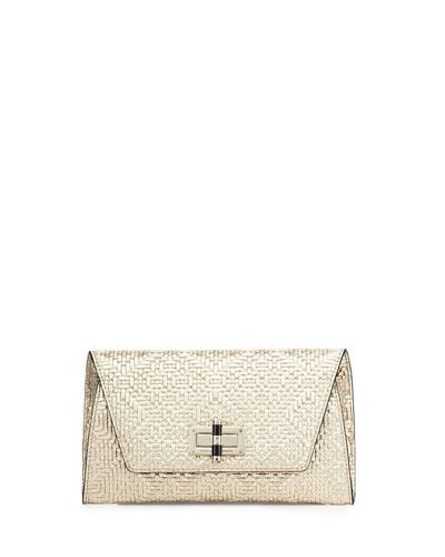 e3ff8c0971e8e V2W6D Diane von Furstenberg 440 Gallery Uptown Basketweave Clutch Bag,  Light Gold