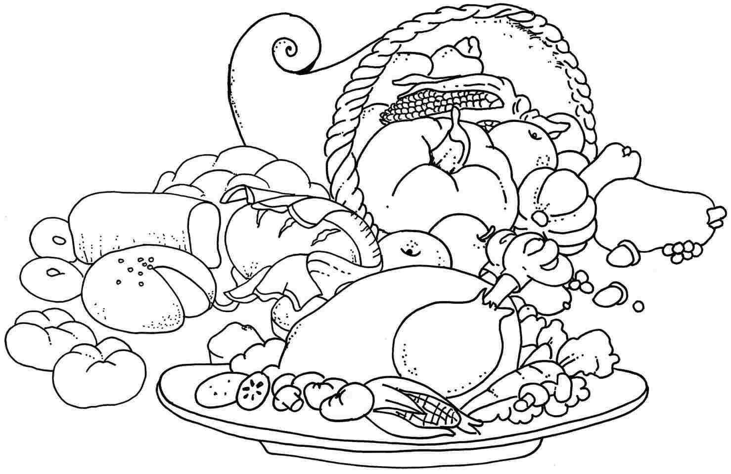 Printable Thanksgiving Food Colouring Pages For