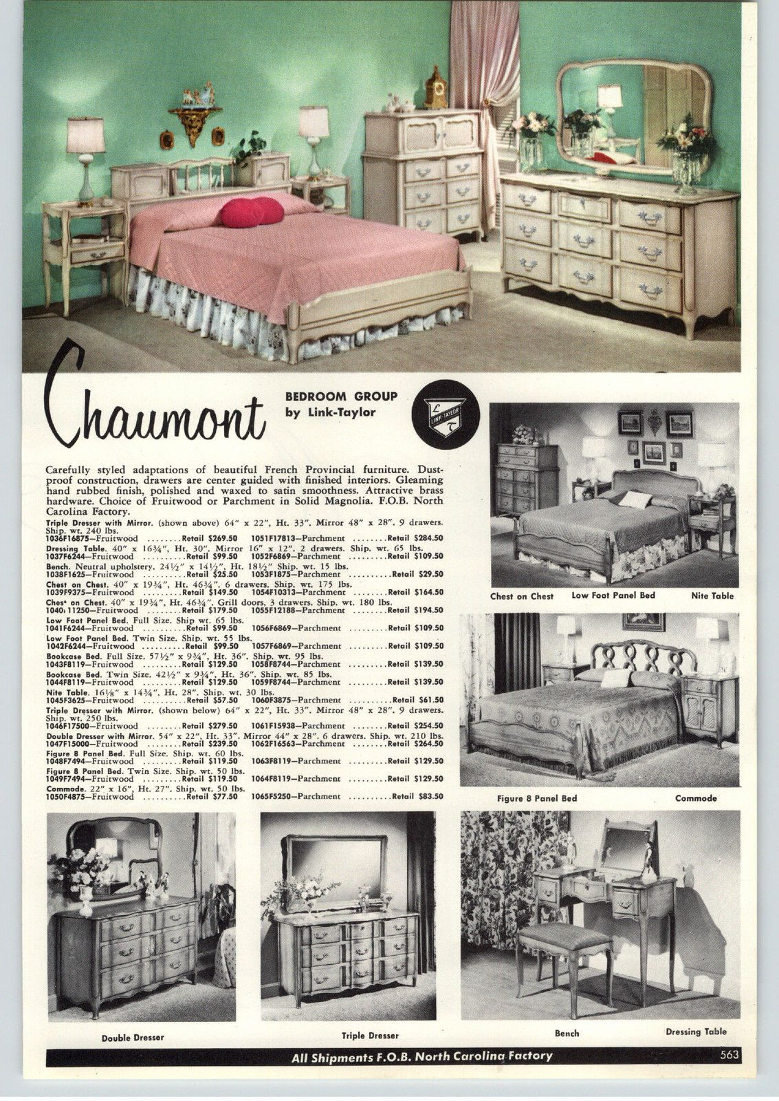 1957 PAPER AD Link Taylor Bedroom Furniture Chaumont ...