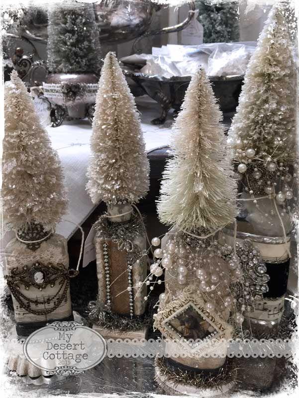 My Desert Cottage** Glittery Bottle Brush Trees CHRISTMAS DISPLAY