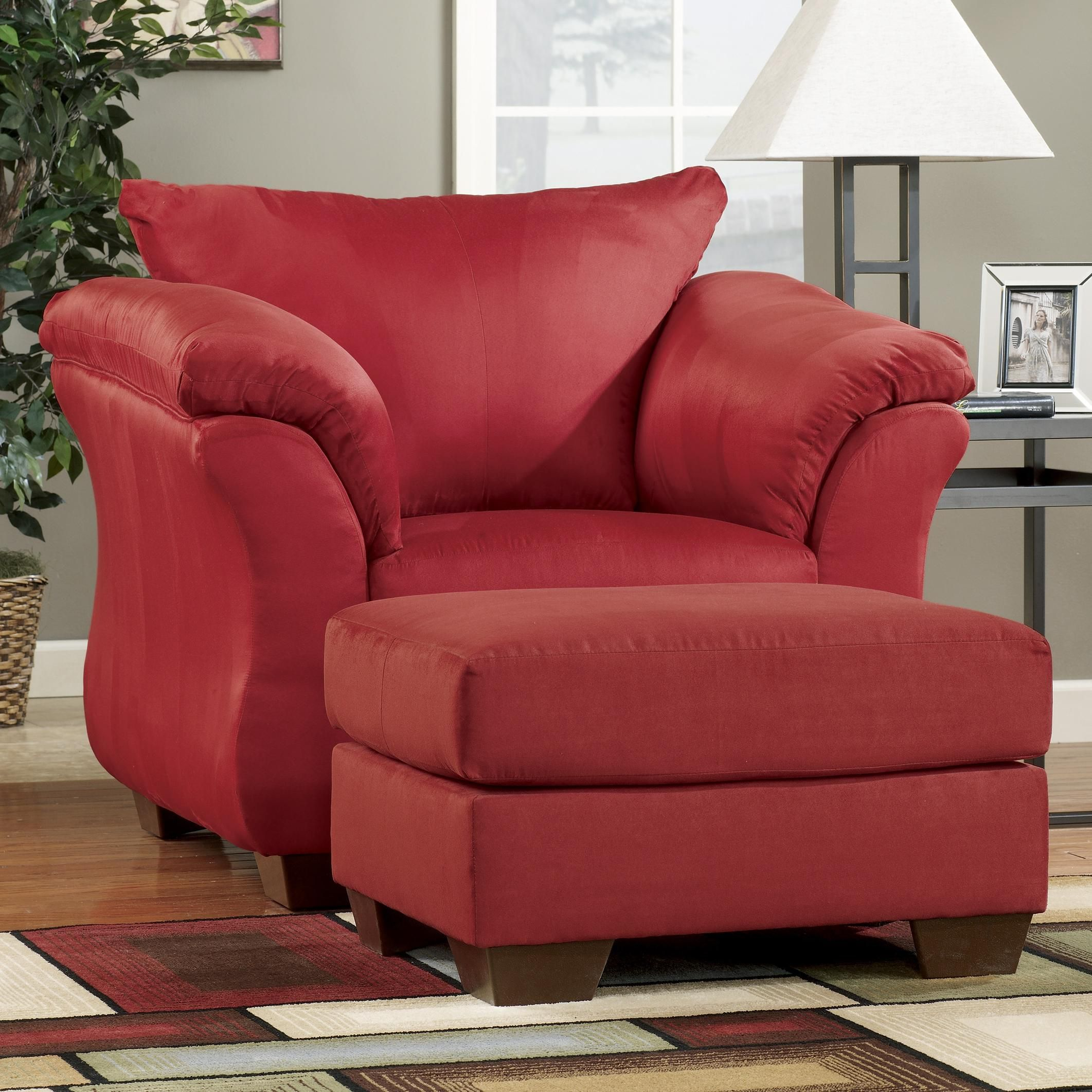 Darcy Salsa Upholstered Chair And Ottoman By Signature