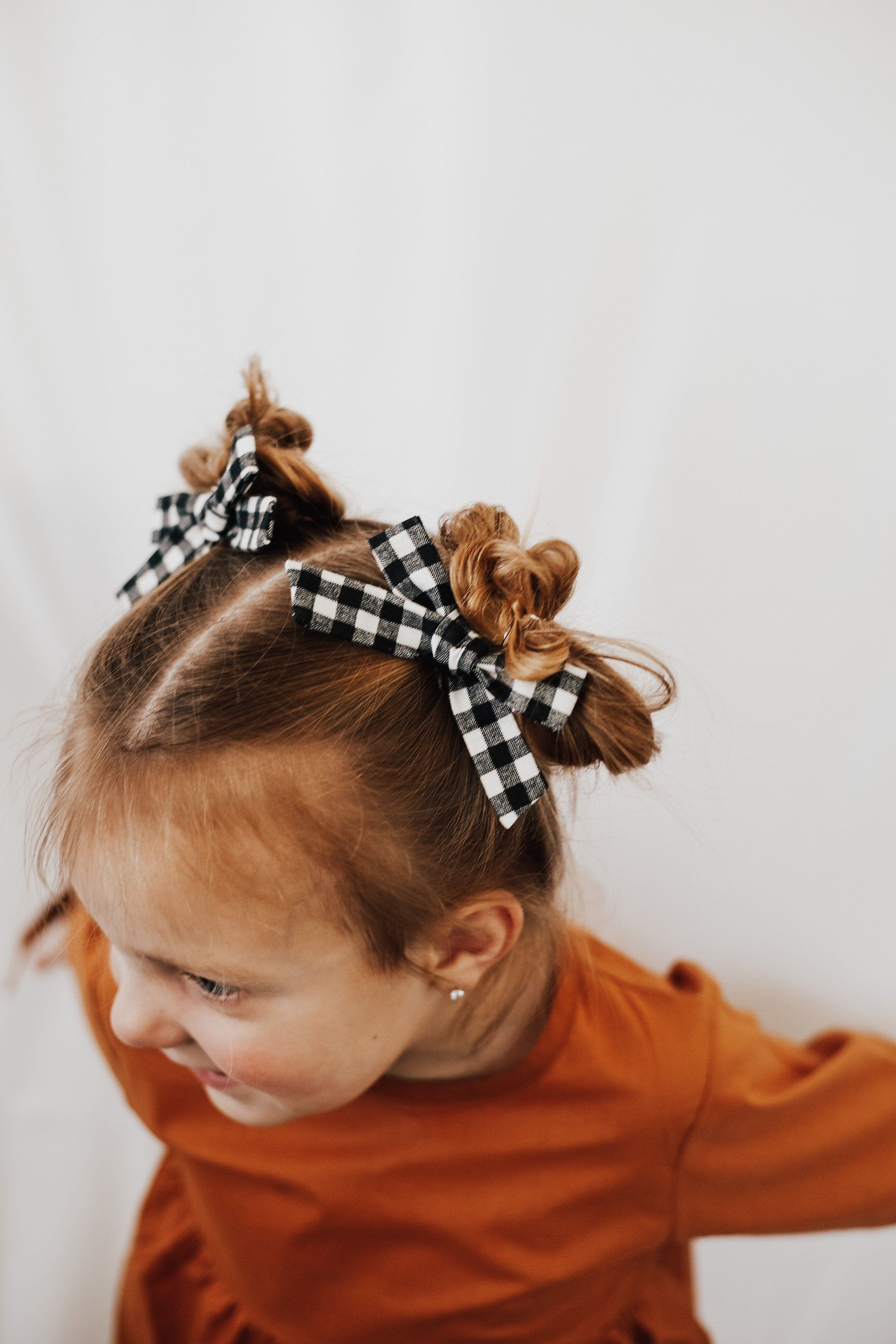 Gingham petite schoolgirl bow l fall bow l back to school
