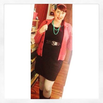 winter pin up fashion with pink cable knit cardigan and little black dress