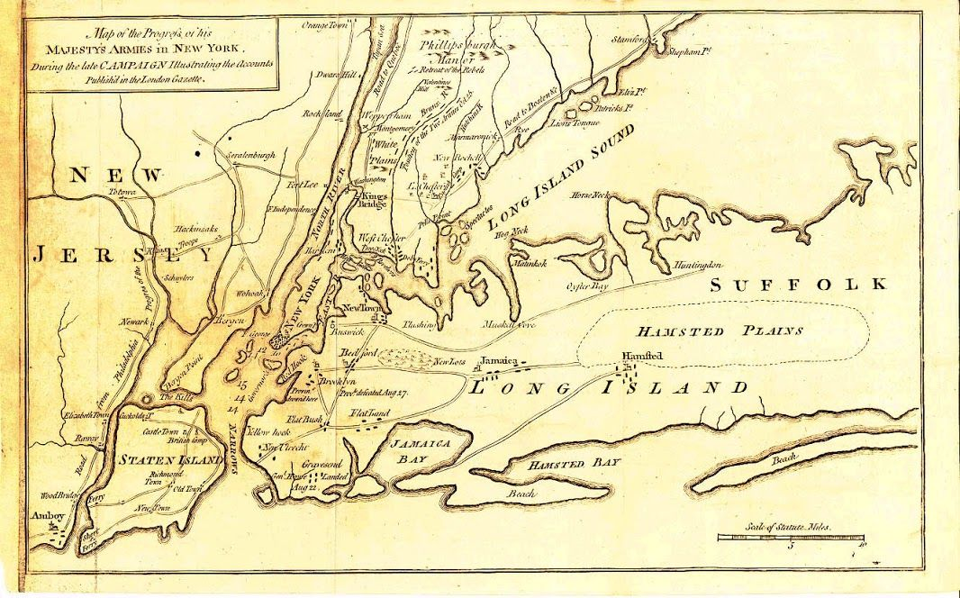 Map from British magazine during Revolutionary war | New York ...