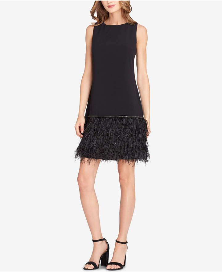 a867f056a8f2 Embellished Feather-Hem Sheath Dress | She's got the look | Feather ...