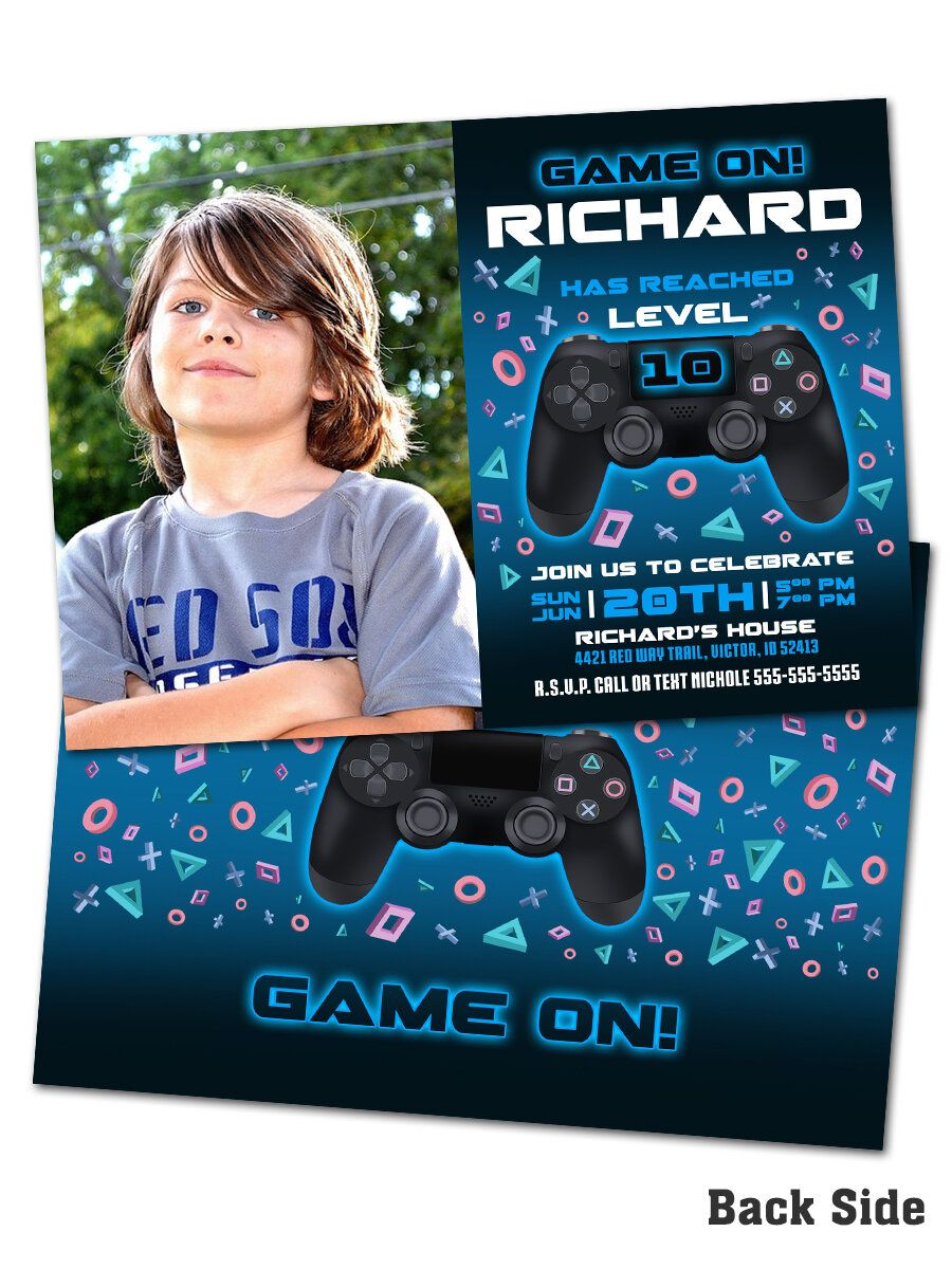 Blue Playstation BIRTHDAY PARTY INVITATIONS Gamer Personalised Xbox
