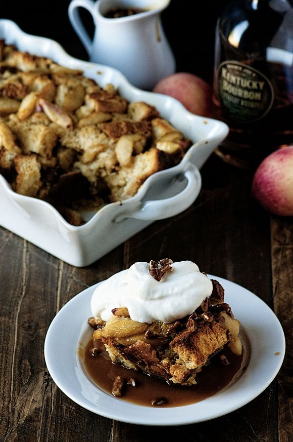 Bourbon Peach Bread Pudding: All the flavors of the south in the to die for Bourbon Peach Bread Pudding with Bourbon Toffee Pecan Sauce.