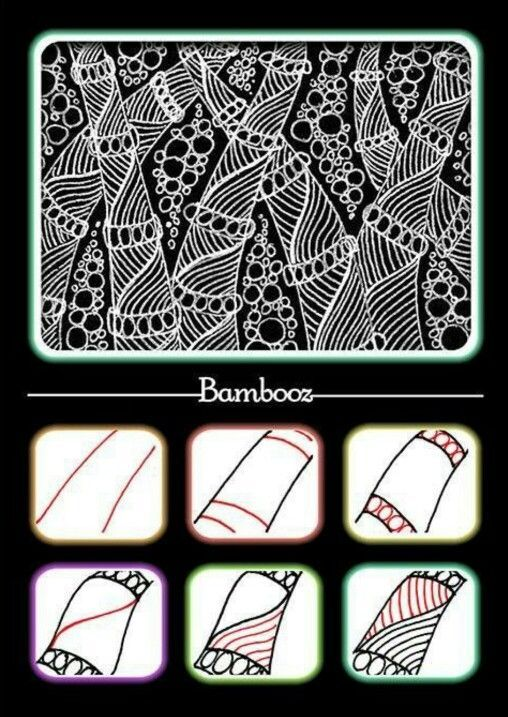 Bambooz~Zentangle If anyone know the name of the designer for this tangle, I would love to know.