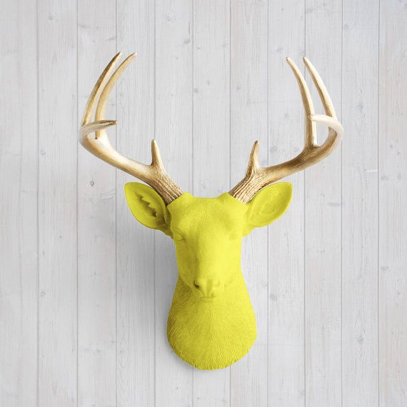 Wall Charmers™ Deer in Yellow + Gold Antler - Faux Head Fake Animal ...