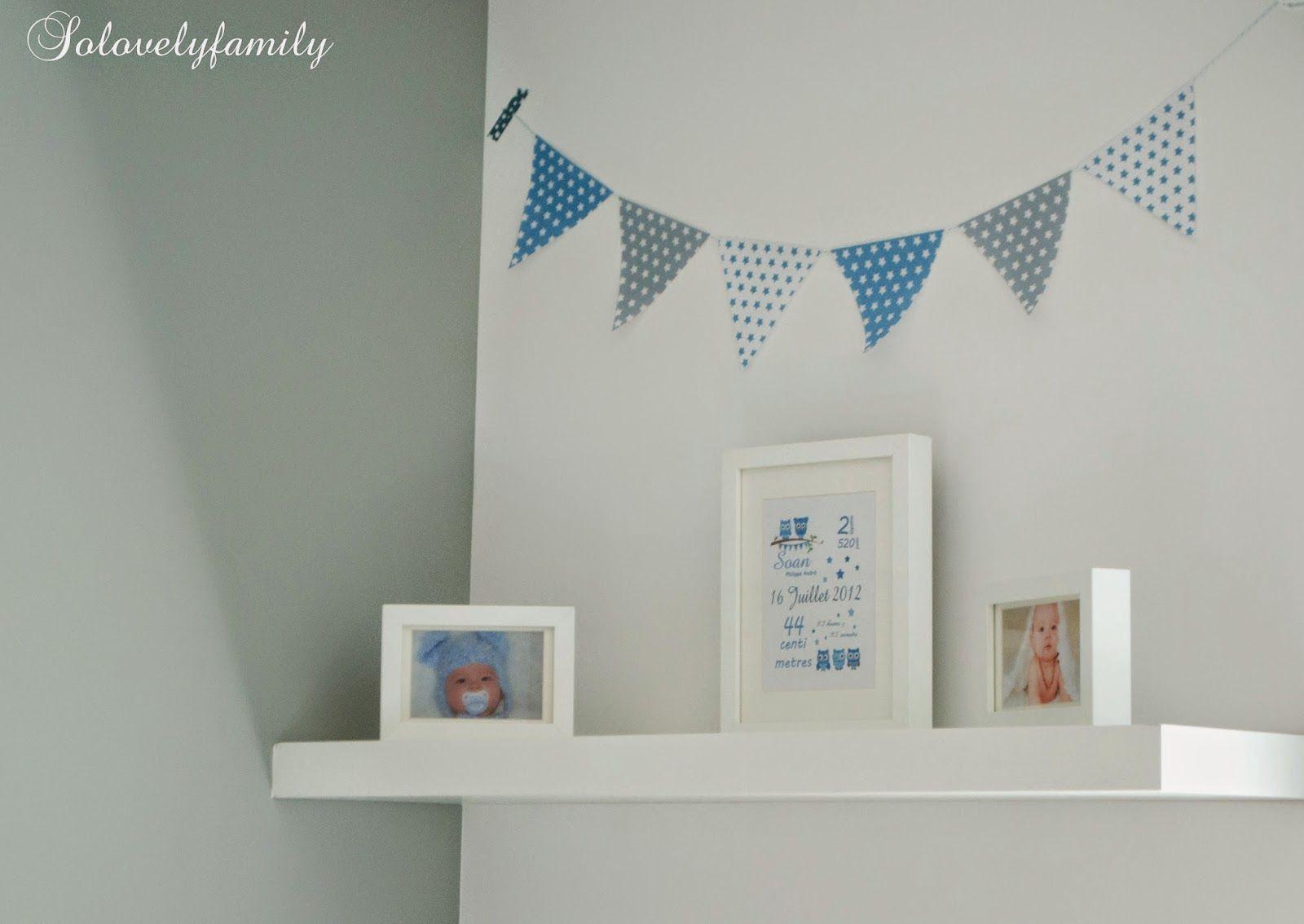 Guirlande fanion bleu gris blanc toile papier chambre b b d co bleue bleu et bleu gris - Fanion deco chambre ...