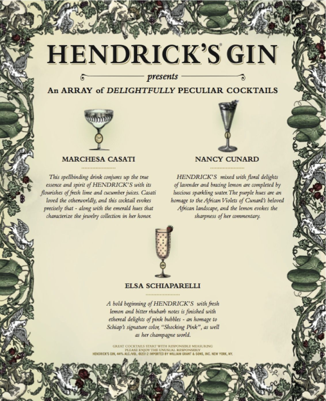 Hendrick S Gin Created Sublime Signature Cocktails For