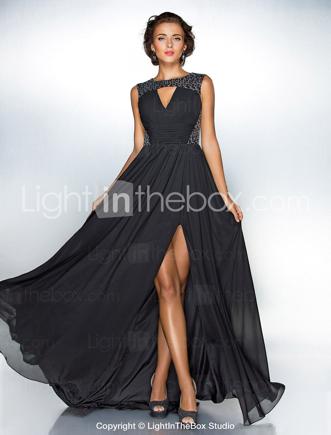 A Line Jewel Neck Sweep Brush Train Chiffon Sequined Formal Evening Dress With Draping Ruching Split Front By TS CoutureR