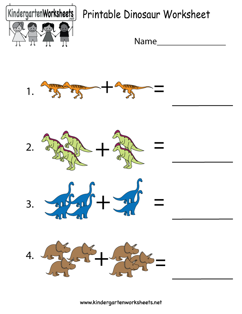 This is a dinosaur addition worksheet for preschoolers or ...