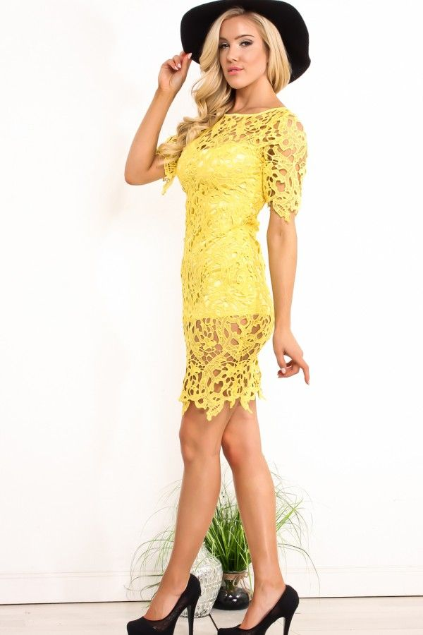 0dc78ed2615d YELLOW LACE FLOWER CUT DESIGN SHORT SLEEVES MID LENGTH DRESS