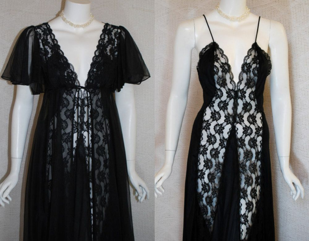 54a82c19d8 1980s Black Peignoir Set