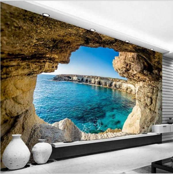 Cave Seaside Scenery 3D Photo Murals Wallpaper Moderns Backdrop Room Wall Decors