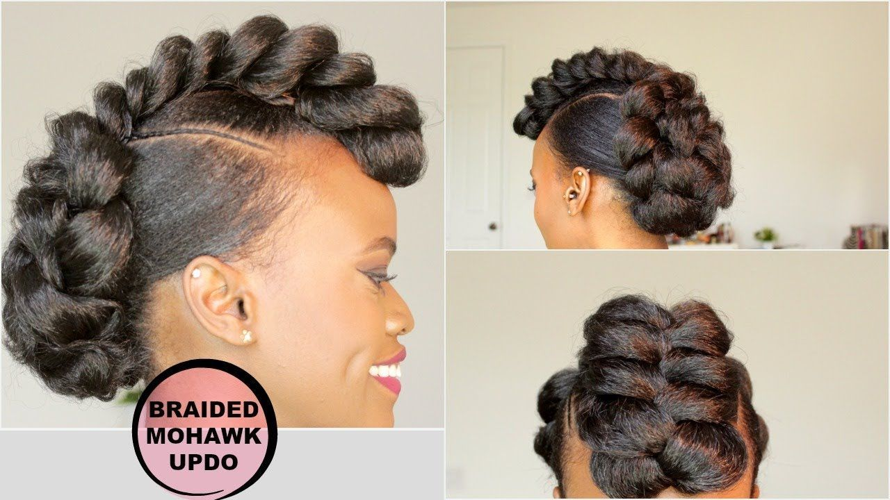 Braided mohawk style updo natural hair tutorial