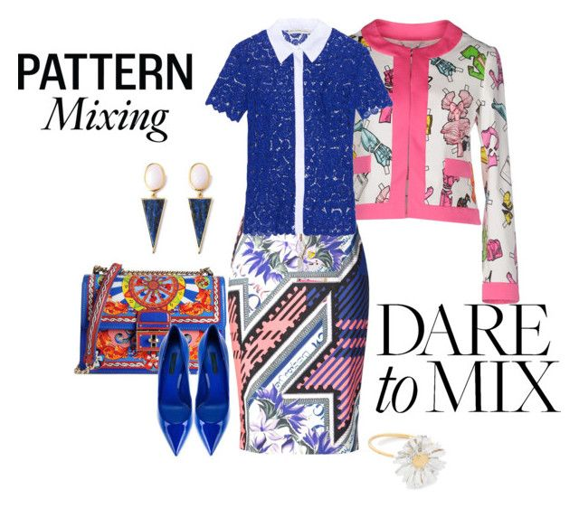 """Pattern Mix Master"" by eva-kouliaridou ❤ liked on Polyvore featuring Moschino, Mary Katrantzou, Dolce&Gabbana, Alex Monroe and patternmixing"