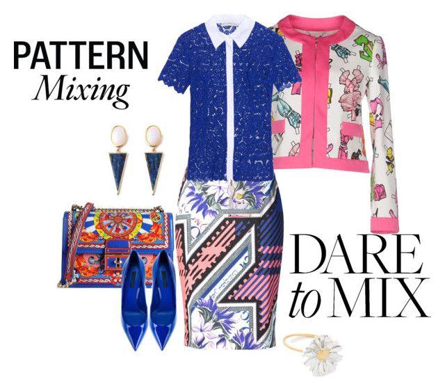 """""""Pattern Mix Master"""" by eva-kouliaridou ❤ liked on Polyvore featuring Moschino, Mary Katrantzou, Dolce&Gabbana, Alex Monroe and patternmixing"""
