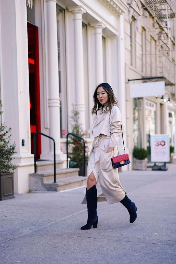 I know New York was a few weeks ago, but I took so many photos and can't resist sharing them with you! This is from right after the Ralph Lauren show. #songofstyle is wearing #sigersonmorrison Knee Boots, #Channel Bag, #Ralphlauren silk dress shirt. Check Her Blog to see the details. from @songofstyle's closet #sigersonmorrison