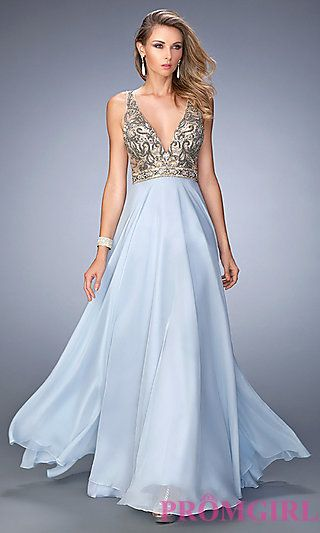Deep V-Neck Long Open Back Prom Dress by Gigi at PromGirl.com ... 48adeeb27