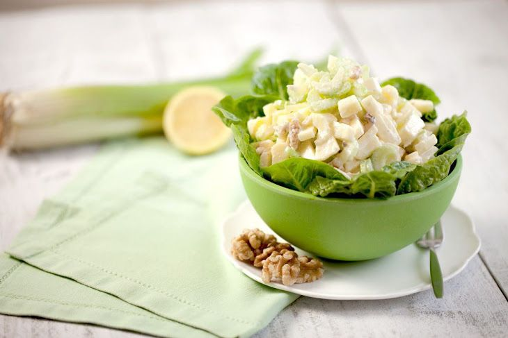 Classic Waldorf Salad Recipe Salads with red apples, lemon, celery ribs, walnuts, mayonnaise, lettuce